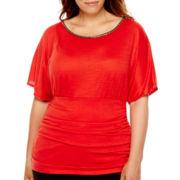 Alyx® Solid Slub Jersey Knit Kimono Top - Plus