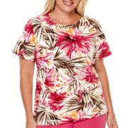 Alfred Dunner® Indian Summer Short-Sleeve Tropical Leaf Print Top - Plus
