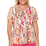 Alfred Dunner® Indian Summer Short-Sleeve Textured Ruffle Top