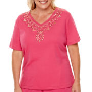 Alfred Dunner® Indian Summer Short-Sleeve Beaded Yoke Knit Top - Plus