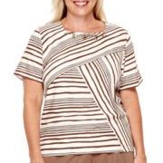 Alfred Dunner® Indian Summer Short-Sleeve Spliced Striped Top - Plus