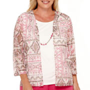 Alfred Dunner® Indian Summer 3/4-Sleeve Geo-Print Layered Top with Necklace - Plus