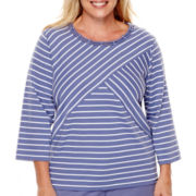 Alfred Dunner® Lake Meade 3/4-Sleeve Spliced Striped Top - Plus