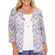 Alfred Dunner® Lake Meade 3/4-Sleeve Biadere Layered Top with Necklace - Plus