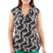 Worthington® Short-Sleeve Cowlneck Top - Plus