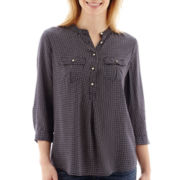 Stylus™ 3/4-Sleeve Popover Peasant Top