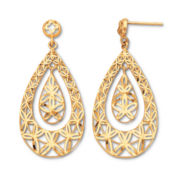 10K Filigree Teardrop Earrings