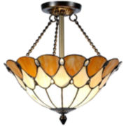 Dale Tiffany Scalloped Jeweled Ceiling Light