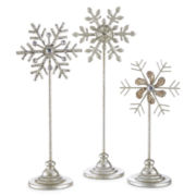 White Frost Set of 3 Snowflake Stands