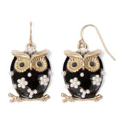 Decree® Gold-Tone and Black Owl Drop Earrings
