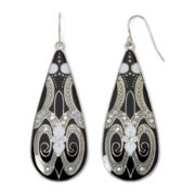 Decree® Silver-Tone and Black Teardrop Earrings