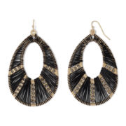 Decree® Gold-Tone Black Teardrop Earrings