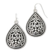 Sensitive Ears Silver-Tone Artisan Teardrop Earrings