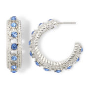 Monet® Blue Glass and Marcasite Hoop Earrings