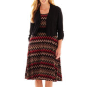 Perceptions Chevron Print Dress with Jacket - Plus