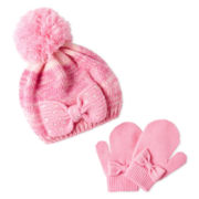 Bow Front Hat and Mitten Set - Girls 2t-5t