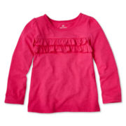 Okie Dokie® Long-Sleeve Ruffle Tee - Girls 2t-6