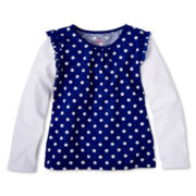 Okie Dokie® Ruffle-Sleeve Tee - Girls 2t-6