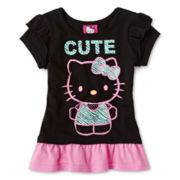 Hello Kitty® Short-Sleeve Ruffle Top - Girls 2t-6