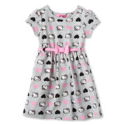 Hello Kitty® Short-Sleeve Heart-Print Dress - Girls 2t-6