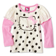 Hello Kitty® Long-Sleeve Skater-Sleeve Top - Girls 2t-6