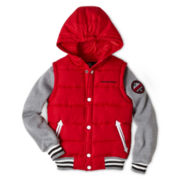 Weatherproof® Hooded Varsity Vest Fleece-Sleeve Jacket - Boys 6-20