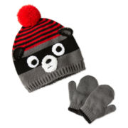 Raccoon Hat and Gloves Set - Boys One Size