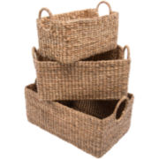 K & A Design 3-pc. Nesting Water Hyacinth Basket Set
