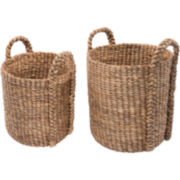 K & A Design 2-pc. Round Water Hyacinth Basket Set