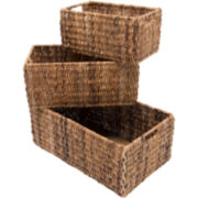 K & A Design 3-pc. Natural Handwoven Indoor/Outdoor Storage Basket Set