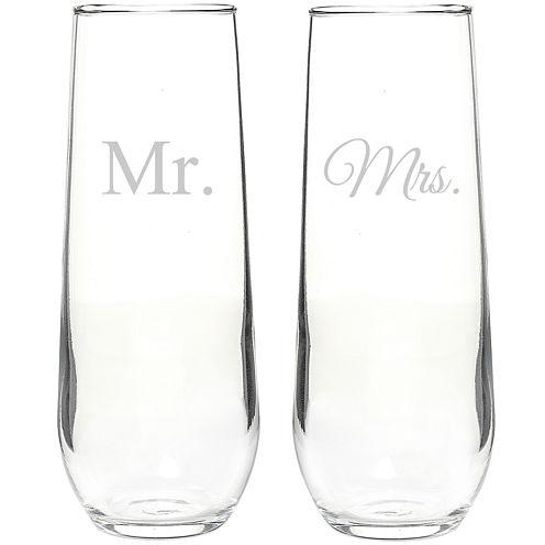 Mr. & Mrs. Set of 2 Champagne Toasting Flutes