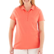 St. John's Bay® Short-Sleeve Piqué Polo Shirt - Plus