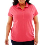 St. John's Bay® Short-Sleeve Piqué Polo Shirt - Plus