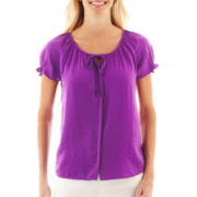 St. John's Bay Button-Front Peasant Top