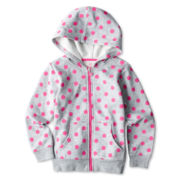 Okie Dokie® Hooded Print Fleece Jacket - Girls 2t-6