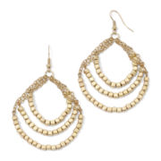Decree® Gold-Tone 3-Circle Beaded Drop Earrings