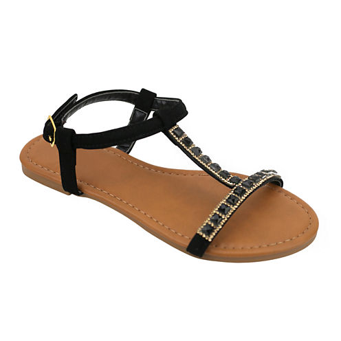 OMGirl Rezina Rhinestone Slide Buckle-Strap Girls Sandals - Little Kids
