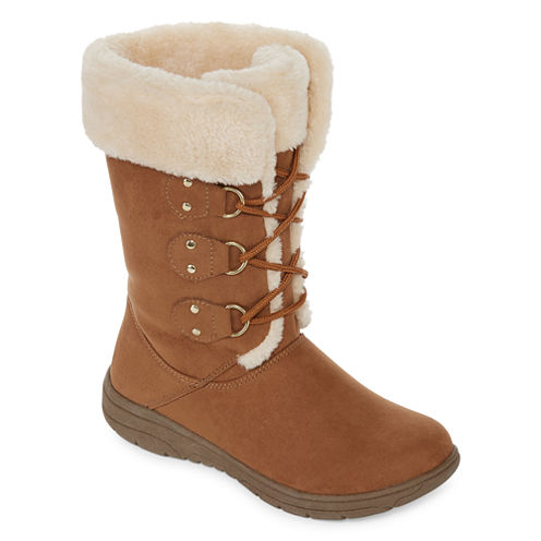 St. John's Bay® Chase Faux-Fur Weather Boots - Wide Calf, Wide Width