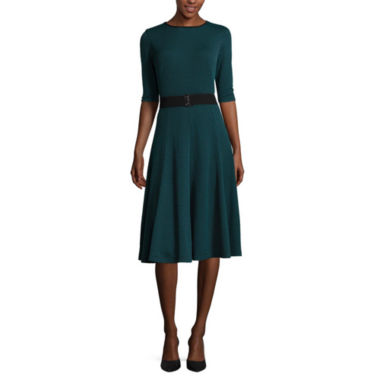 jcpenney.com | Danny & Nicole® Elbow-Sleeve Pucker Knit Belted Fit-and-Flare Dress