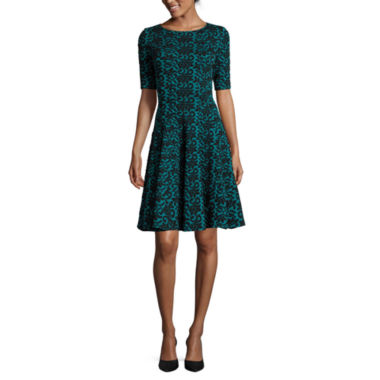 jcpenney.com | Danny & Nicole® Elbow-Sleeve Scroll Fit-and-Flare Dress
