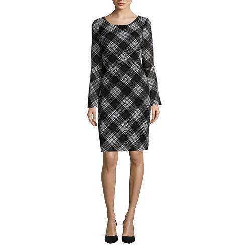 Robbie Bee® Long Bell Sleeve Plaid Knit Sheath Dress