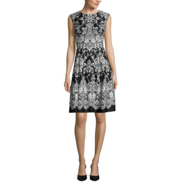 jcpenney.com | Studio 1® Sleeveless Scroll Print Scuba Fit-and-Flare Dress