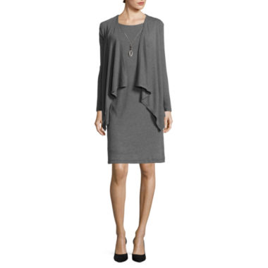jcpenney.com | R&K Originals® Long-Sleeve Knit Mock Jacket Dress with Necklace
