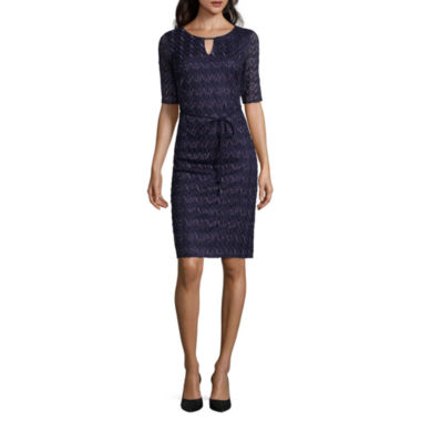 jcpenney.com | Studio 1® Elbow-Sleeve Belted Crochet Shift Dress