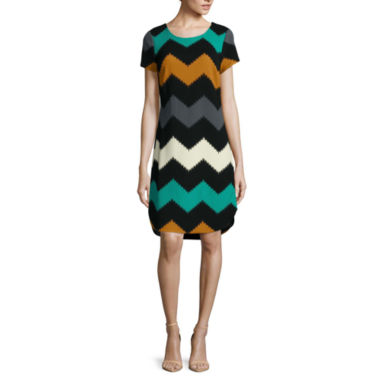 jcpenney.com | Robbie Bee® Short-Sleeve Textured Knit Chevron Sheath Dress - Petite