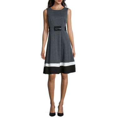 jcpenney.com | Liz Claiborne® Sleeveless Belted Fit-and-Flare Dress