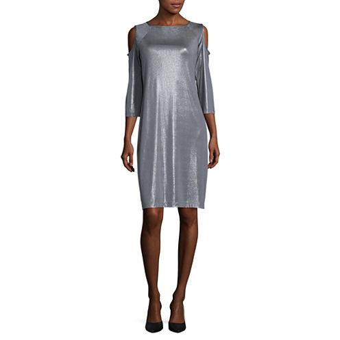 Scarlett 3/4-Sleeve Cold-Shoulder Dress - Tall