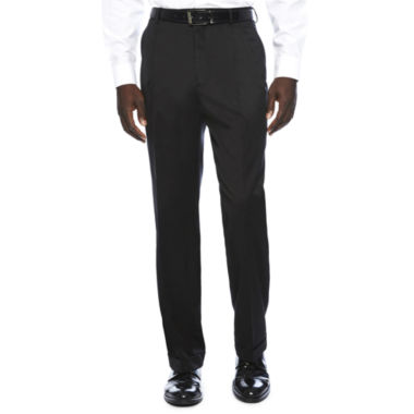 jcpenney.com | Stafford® Travel Black Stretch Pleated Pants - Classic