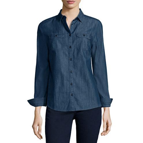 St. John's Bay® 2-Pocket Classic Shirt - Tall