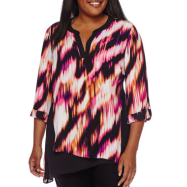 jcpenney.com | Worthington® 3/4-Sleeve Colorblock Asymmetrical Tunic - Plus